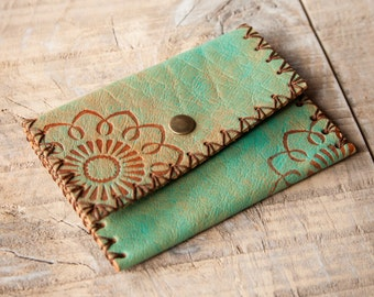 Turquoise Leather Wallet, Leather Coin Purse, Coin Wallet, Leather Coin Pouch