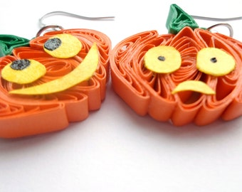Quillng earring - Pumpkin Earrings,  Halloween jewelry ,  Halloween pumpkins,  Gift for Halloween