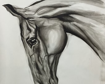 Custom made large horse painting. Pet portrait. 100% ORIGINAL