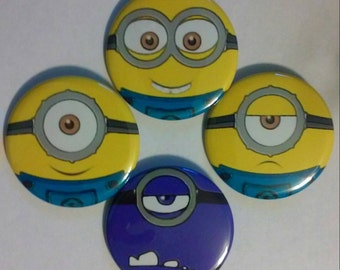 Minions Faces (Set of 4 buttons, Pinback 2.25 inches)