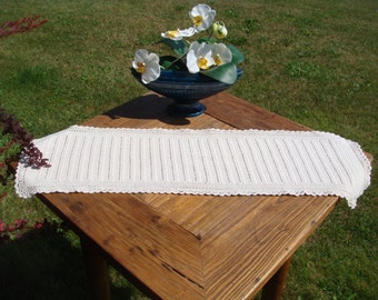 Table Runner, Vintage Cochet Centerpiece, in Cream - Ecru cotton, Rustic cottage feel