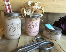 Mason Jar Office Organization Set, Shabby Chic Decor, Distressed, Great Gift Idea, Business Card Holder, Pen & Pencil Holder, Pink and Cocoa