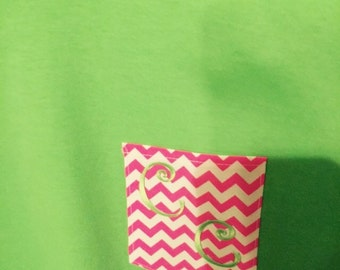 Embroidered monogram intials on t-shirts