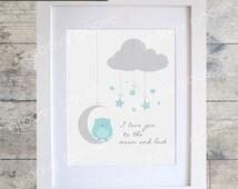 I Love You To The Moon Owl (BLUE) Wall Art / Kids Room Decor/ Kids Wall Art / Nursery Wall Art / Owl Print