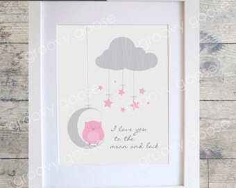I Love You To The Moon Owl (PINK) Wall Art / Kids Room Decor/ Kids Wall Art / Nursery Wall Art / Owl Print