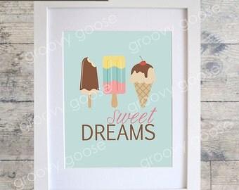 Sweet Dreams Wall Art / Kids Room Decor/ Kids Wall Art / Nursery Wall Art / Icecream Print