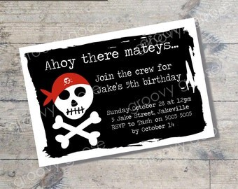 Pirate Skull Flag kids party invitation DIY Printable PIRATE theme party printable invitations Personalised invitation