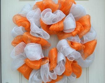 Tennessee Vols Wreath, Orange and White Wreath, College Football Decor, Vols Decor, SEC Wreath, Fall Wreath, Mesh Wreath, TN Volunteer Decor