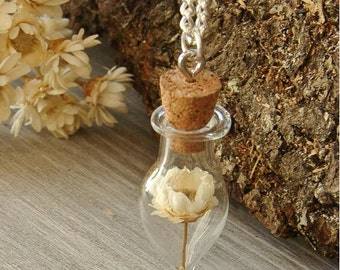 Beautiful Handmade Water drop Glass globe Ivory dried flower necklace silver chain