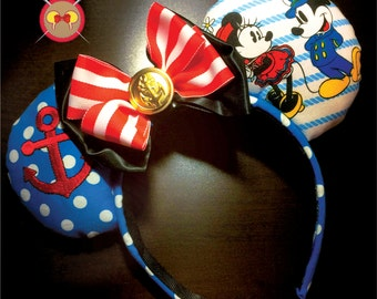 Captain Mickey and Minnie Nautical Mickey Ear Headband with Embroidered Anchor