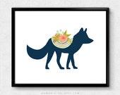 SALE -  Floral Fox, Fox Print, Fox Silhouette, Woodland Animal, Baby Girl Nursery, Shabby Chic, BOHO, Modernism, Colorful, Tribal