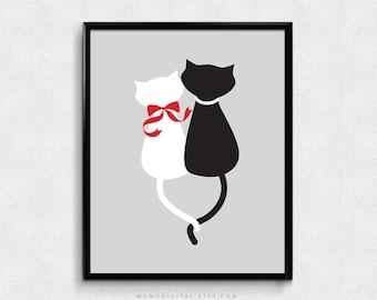 SALE -  Kitty Love, Kitty Couple, Couple Print, Animal Poster, Cat Print, Cat Poster, Bow, Animal Couple, Black White Grey Red, Modern