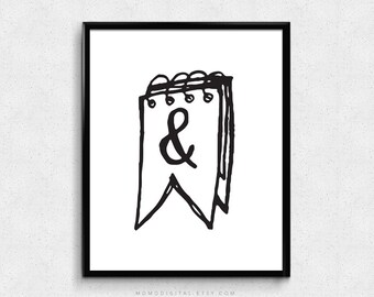 SALE -  Ampersand Notebook, Ampersand Print, Doodle Poster, Handdrawn Print, Modern Poster, Contemporary, Black White, And Print