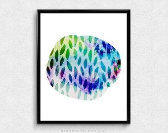 SALE -  Watercolor Blob, Leaves, Fall Print, Colorful Poster, Nature Print, Circle Shape, Geometric Poster, Rainbow Print, Modernism