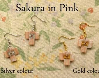 Japanese Kimono Origami Earrings - Sakura - earrings cherry blossom kimono origami