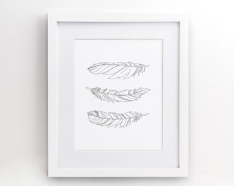Feather Feathers - Black and White  - Gift Her Him Friend Family Birthday Wall Art Poster Print Gallery Wall Decor - 4x6 5x7 8x10 - 0035b