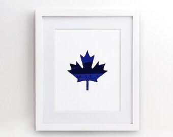 Hockey Blue Maple Leaf - Gift Her Him Friend Family Birthday Wall Art Poster Print Gallery Wall Decor - 4x6 5x7 8x10 - 0013b