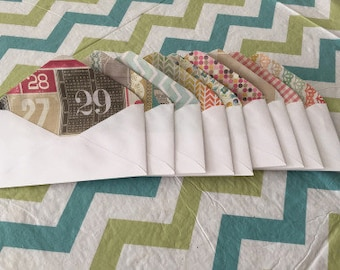 5 White Envelopes With Multi-Patterned Insides