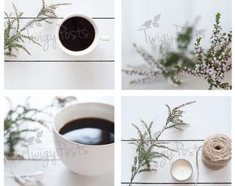 White Christmas | Rustic Farm Table Coffee Mug Stock Photos for Instagram