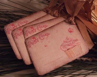 Vintage Cupcake Post Card Hang Gift Tags Birthday