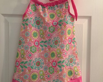 Girls Floral Pink/Teal/Green Pillowcase Dress