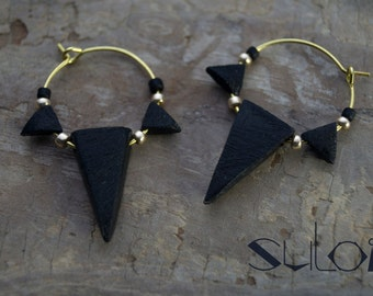 """Earrings with triangles """"wooden"""""""