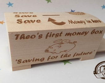 Laser Engraved Personalised Money Box