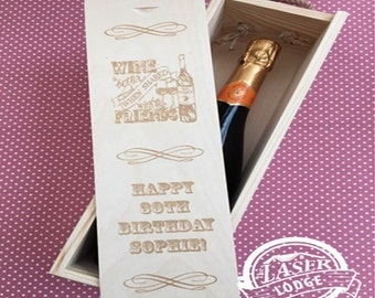 Laser Engraved Personalised Wooden Wine Box