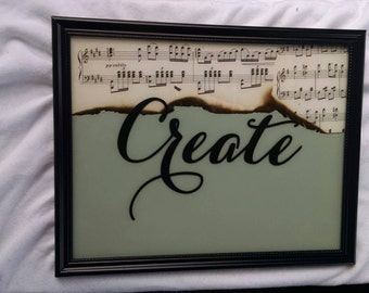 "Framed wall hanging ""create"" 8x10 frame"