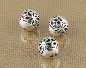 Bali Sterling Silver Spacer Beads Bringht S925 Silver Hollow Out Bead Filigree 10mm S254
