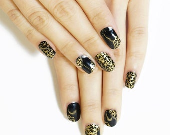 Black & Gold Digital Nail Wraps / Designer Nail Stickers ( 22pcs)