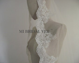 Lace Bridal Veil, Lace Wedding Veil, Fingertip Lace Veil, Mantilla Lace Veil, Mi Bridal Veil