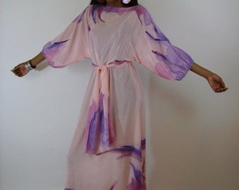 Sale Vintage 1960s Long Maxi Watercolor dress