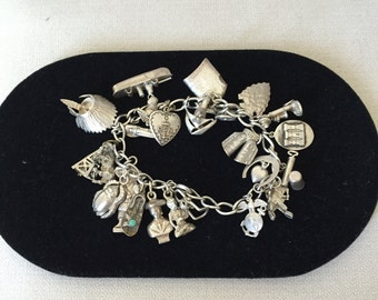 Amazing Vintage Sterling Charm Bracelet With 26 Charms! On sale limited time!