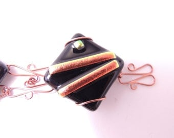 Fused Dichroic Glass and Copper Bracelet - Red, Gold, Orange OOAK