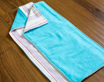Baby Burp Cloths - Pink and Blue Stripes