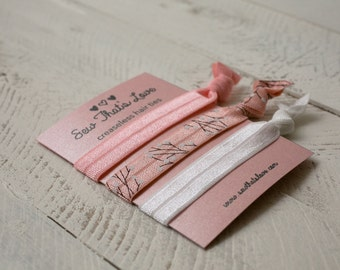 Creaseless Hair Ties - Light Pink, White, and Pink Branches