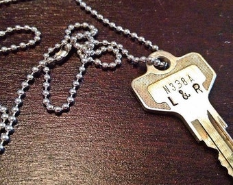 Stamped initial key necklace