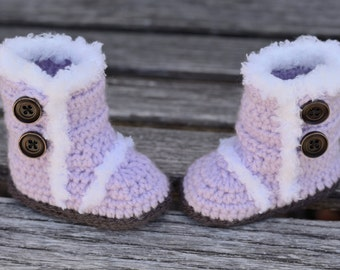 Crochet Baby Boots, Light Purple Boots, Baby Girl Boots, Crocheted Boots, Booties, Baby Gift, Winter Boots