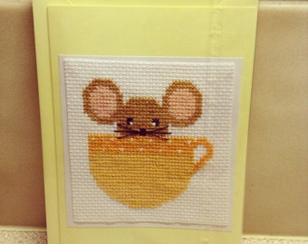 Mouse in Tea Cup Card