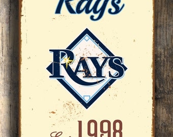 Vintage style Tampa Bay RAYS Sign, Tampa Bay Rays Est. 1998 Composite Aluminum Tampa Bay Rays Sign in team colors WORLDWIDE Shipping