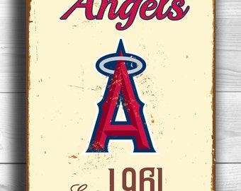 Vintage style LA Angels Sign, LA Angels Est. 1961 Composite Aluminum Los Angeles Angels of Anaheim in team colors WORLDWIDE Shipping