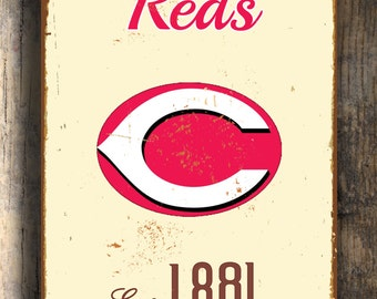 Vintage style CINCINNATI REDS Sign, Cincinnati Reds Sign Est. 1881 Composite Aluminum Cincinnati Reds sign in team colors WORLDWIDE Shipping