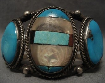 Chunky Vintage Navajo Channel Inlay Turquoise Silver Bracelet