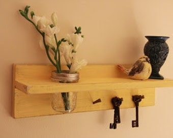 Shabby chic Mason jar key holder shelf