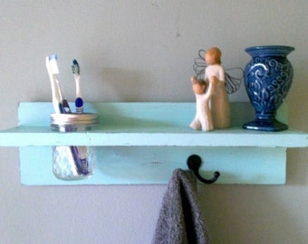 Shabby Chic rustic bathroom towel shelf