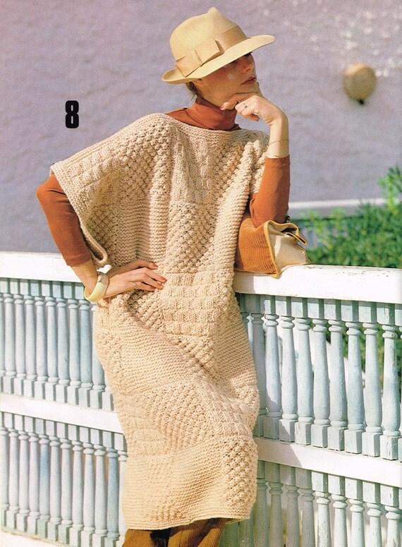 Knitting Pattern For Blanket Poncho : Vintage Knitting Pattern Blanket Poncho Ladies Women Dress