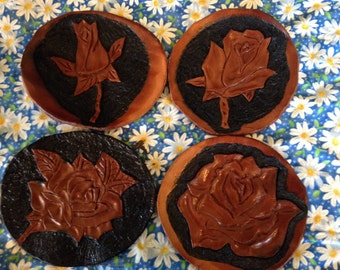 Hand made rose leather coasters set of 4