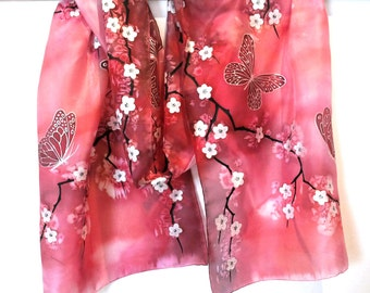"""Hand Painted Silk Scarf, pink scarf with flowers, cherry blossom and butterflies. Approx 18"""" x 71"""" (45 x 180 cm)."""