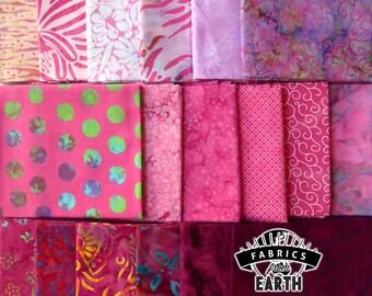 Pink Batik 18 Fat Quarter Bundle - Quilting Fabric